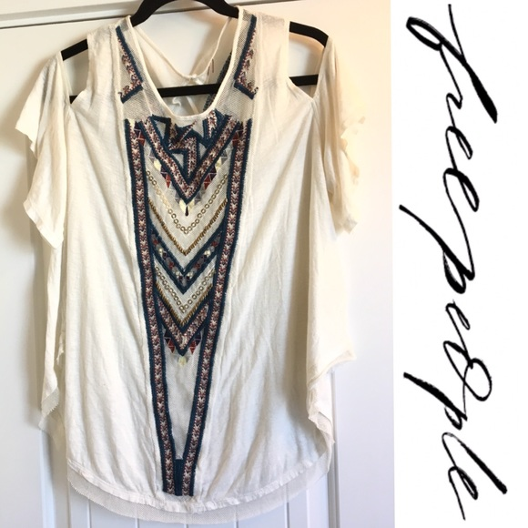 ec6c9112bb0a0 Free People Tops - Freepeople Cold shoulder Embroidered